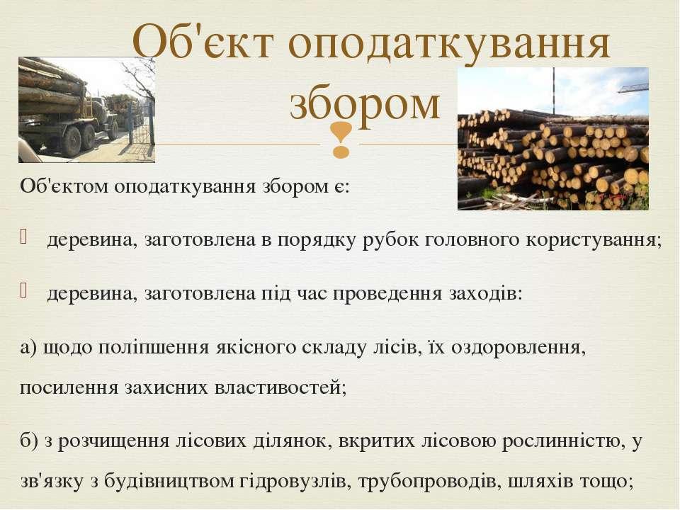 Об'єктом оподаткування збором є: деревина, заготовлена в порядку рубок головн...