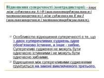 Відношення суперечності (контрадикторні) - існує між судженнями А і О (загаль...