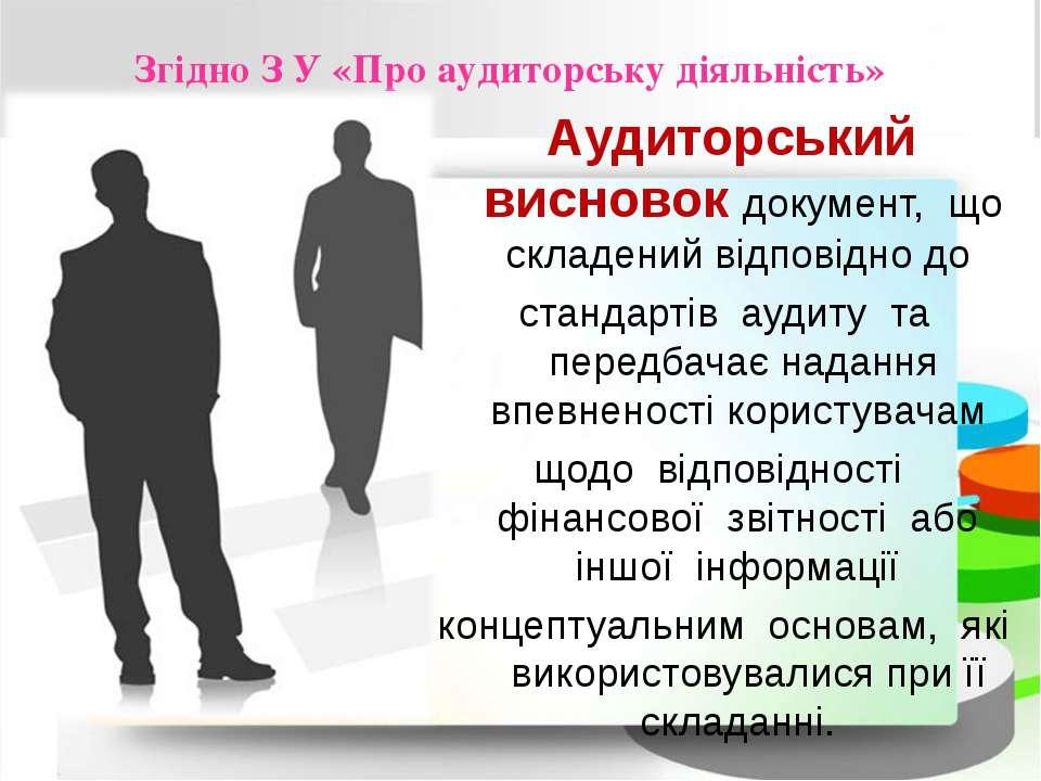 Згідно З У «Про аудиторську діяльність» Аудиторський висновок документ, що ск...