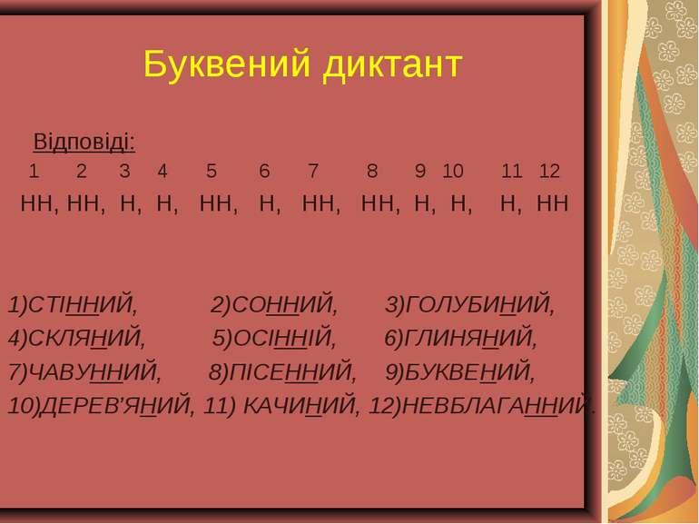 Буквений диктант Відповіді: 1 2 3 4 5 6 7 8 9 10 11 12 НН, НН, Н, Н, НН, Н, Н...