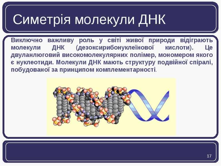 Симетрія молекули ДНК Виключно важливу роль у світі живої природи відіграють ...