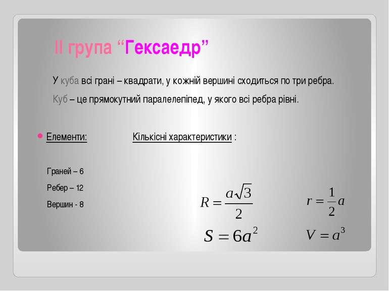 """ІІ група """"Гексаедр"""" У куба всі грані – квадрати, у кожній вершині сходиться п..."""
