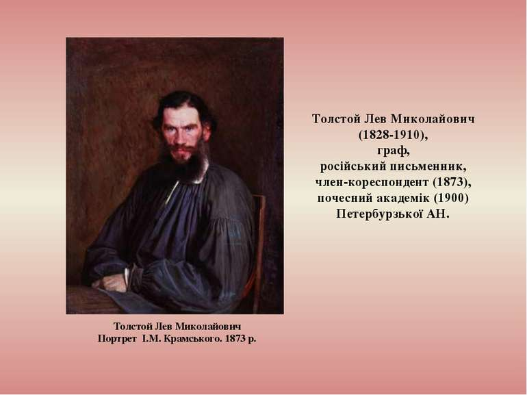 Толстой Лев Миколайович (1828-1910), граф, російський письменник, член-коресп...