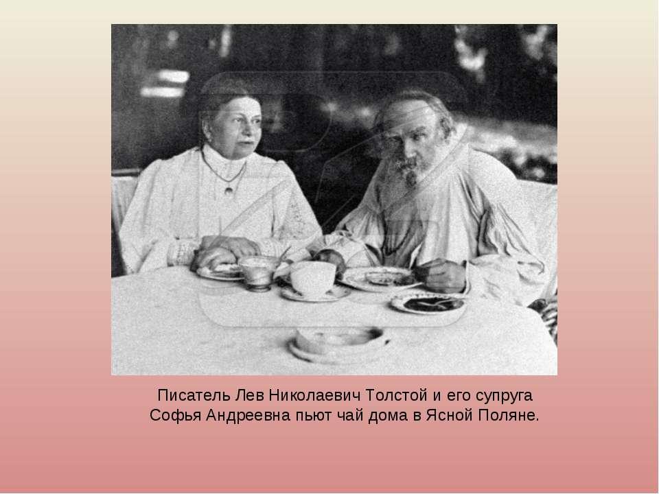 Писатель Лев Николаевич Толстой и его супруга Софья Андреевна пьют чай дома в...