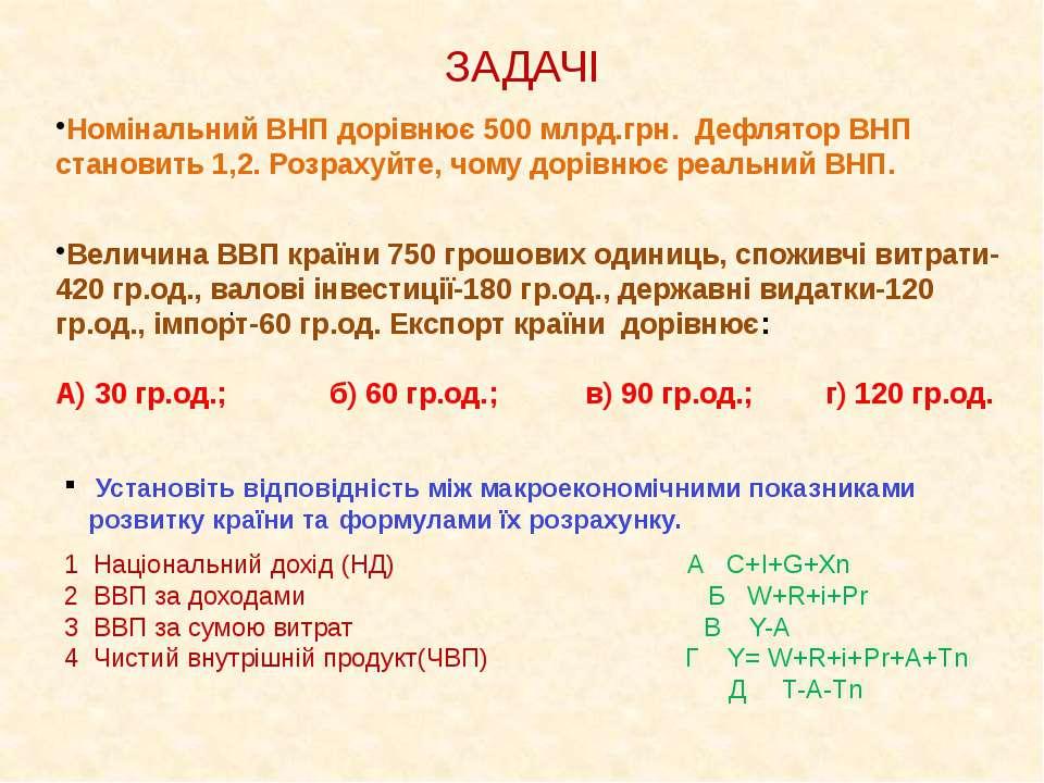 ЗАДАЧІ Номінальний ВНП дорівнює 500 млрд.грн. Дефлятор ВНП становить 1,2. Роз...