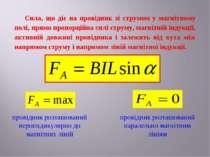 Сила, що діє на провідник зі струмом у магнітному полі, прямо пропорційна сил...