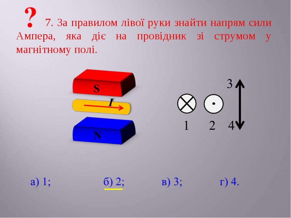 7. За правилом лівої руки знайти напрям сили Ампера, яка діє на провідник зі ...