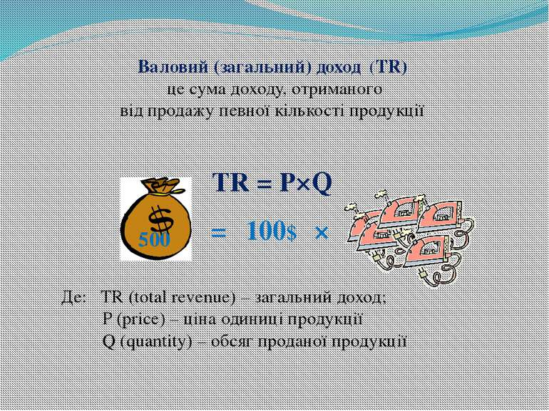 Валовий (загальний) доход (TR) це сума доходу, отриманого від продажу певної ...