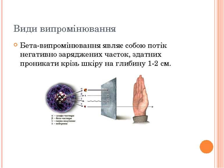 Види випромінювання Бета-випромінювання являє собою потік негативно заряджени...