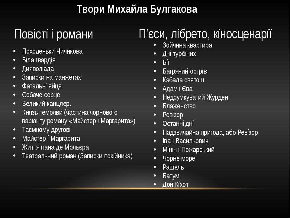 Твори Михайла Булгакова Повісті і романи П'єси, лібрето, кіносценарії Походен...