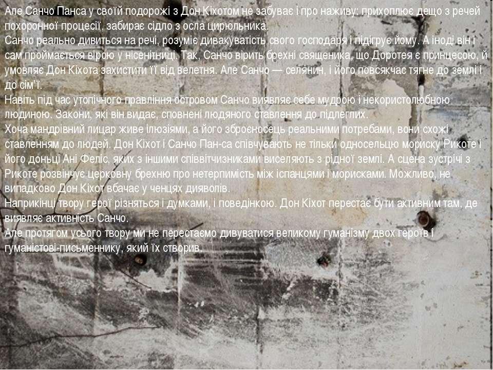 Але Санчо Панса у своїй подорожі з Дон Кіхотом не забуває і про наживу: прихо...