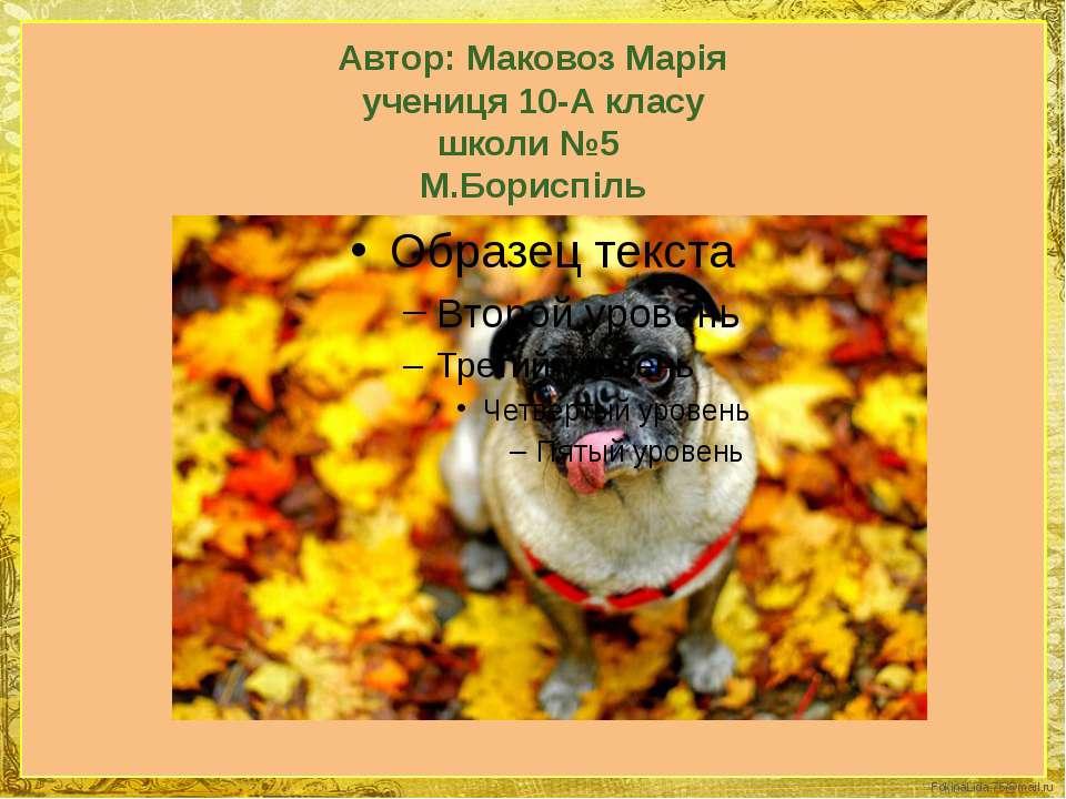 Автор: Маковоз Марія учениця 10-А класу школи №5 М.Бориспіль FokinaLida.75@ma...