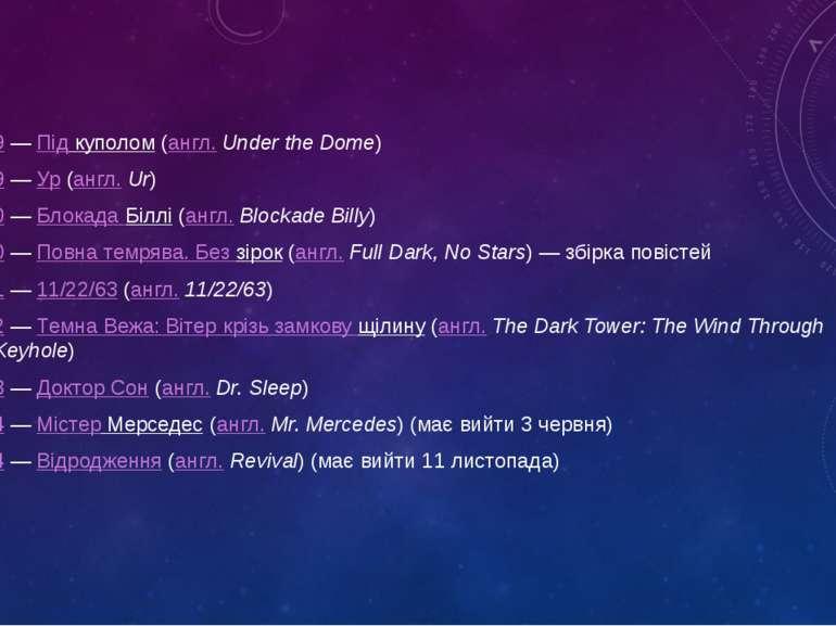 2009—Під куполом(англ.Under the Dome) 2009—Ур(англ.Ur) 2010—Блокада...