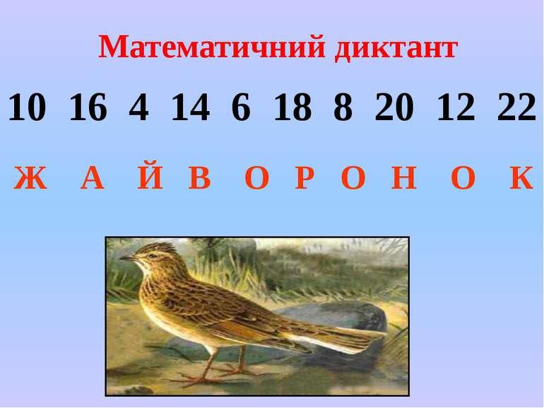 Математичний диктант 10 16 4 14 6 18 8 20 12 22 Ж А Й В О Р О Н О К