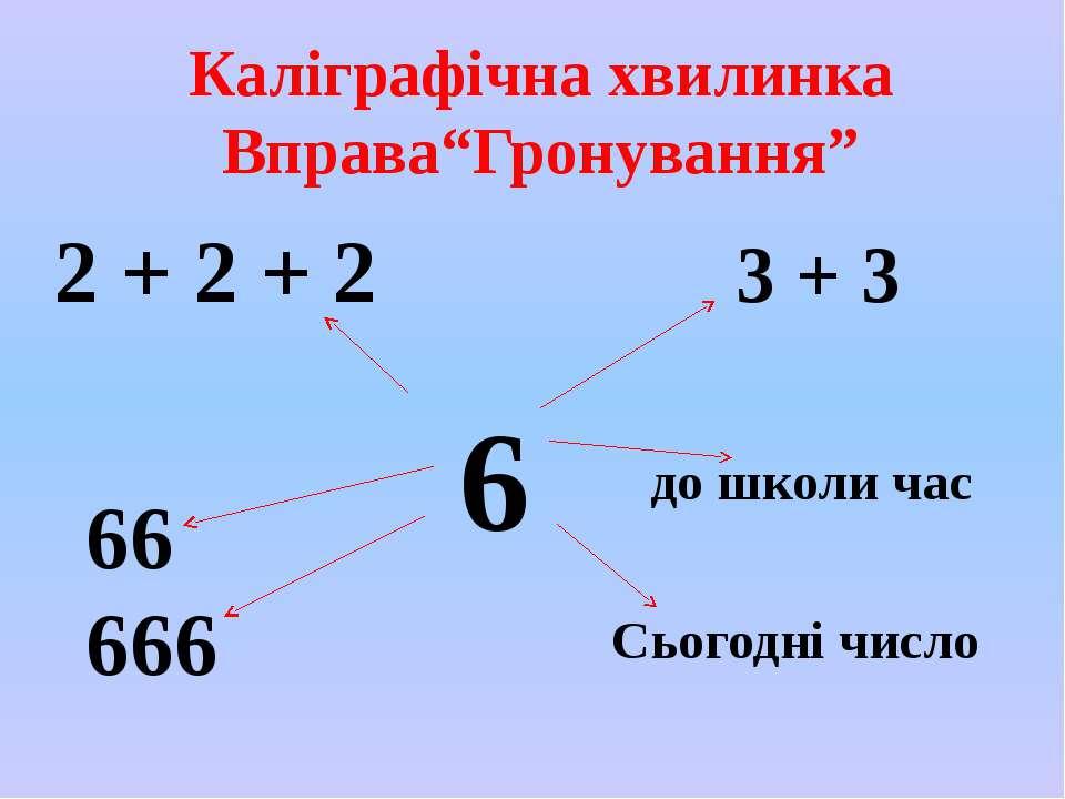 """Каліграфічна хвилинка Вправа""""Гронування"""" 6 2 + 2 + 2 3 + 3 66 666 до школи ча..."""