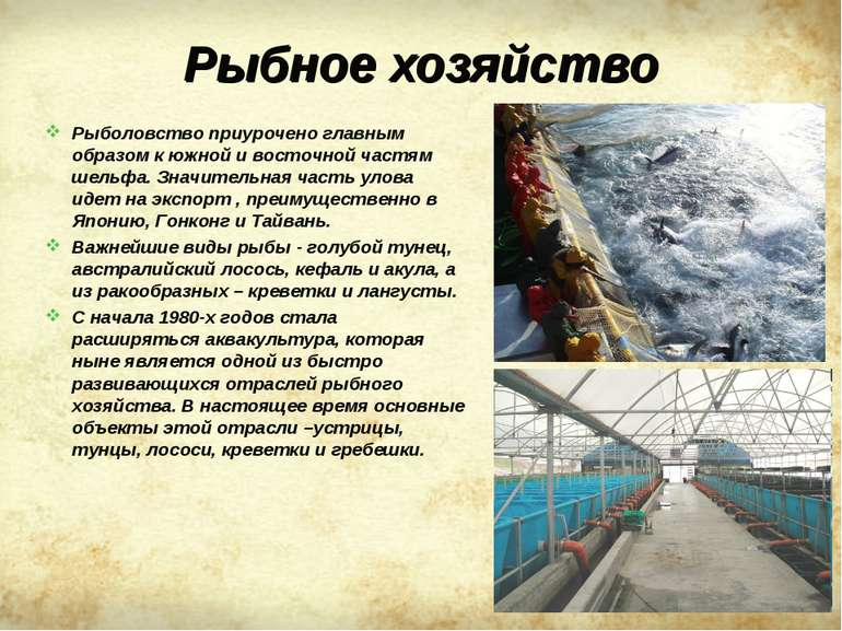 Рыбное хозяйство Рыболовство приурочено главным образом к южной и восточной ч...