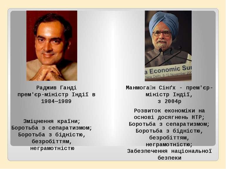 Раджив Ганді прем'єр-міністр Індії в 1984—1989 Манмога н Сінґх - прем'єр-міні...