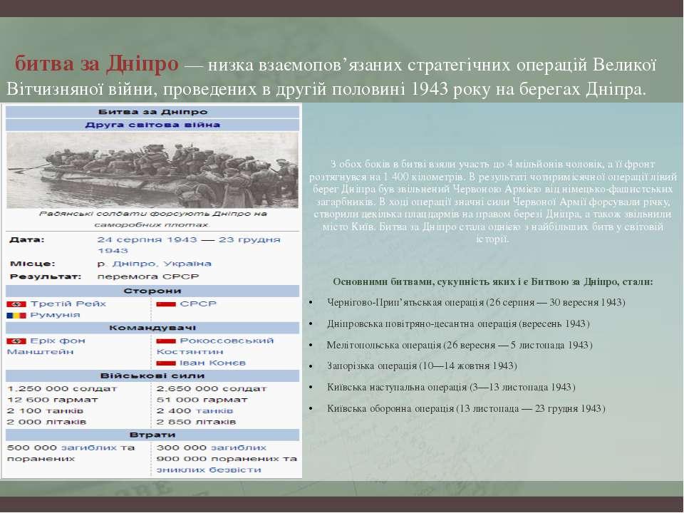 битва за Дніпро — низка взаємопов'язаних стратегічних операцій Великої Вітчиз...