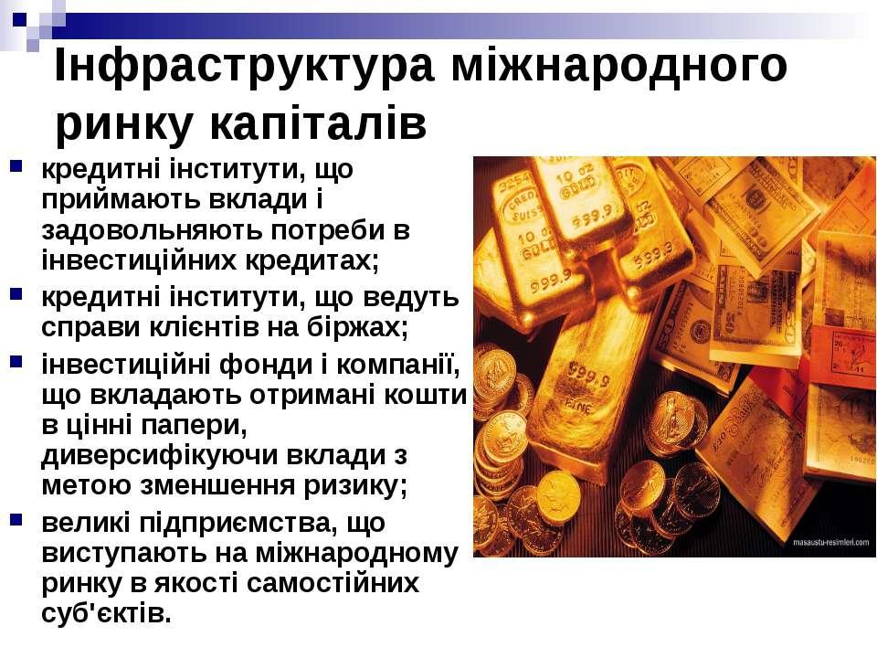 Інфраструктура міжнародного ринку капіталів кредитні інститути, що приймають ...