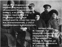 1921 р. О. Слісаренко утворює науково-мистецьку групу «Комкосмос» (Комуністич...