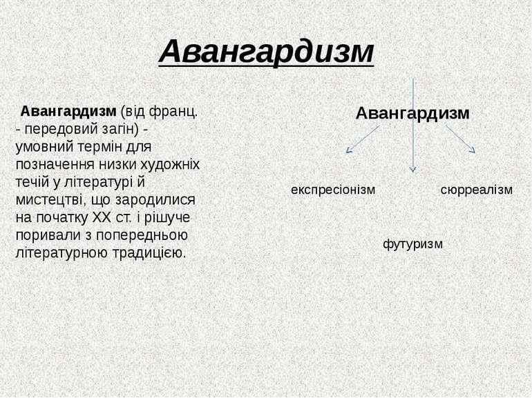 Авангардизм Авангардизм (від франц. - передовий загін) - умовний термін для п...
