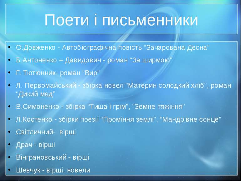 """Поети і письменники О.Довженко - Автобіографічна повість """"Зачарована Десна"""" Б..."""