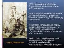 Софія Дітковська 1883 - одружився з Софією Дітковською, хористкою трупи М.Ста...