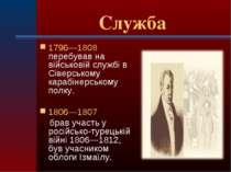 Служба 1796—1808 перебував на військовій службі в Сіверському карабінерському...