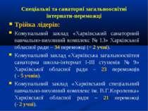 Спеціальні та санаторні загальноосвітні інтернати-переможці Трійка лідерів: К...