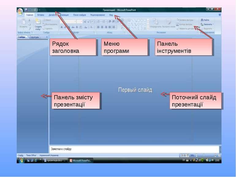 Рядок заголовка Меню програми Панель інструментів Панель змісту презентації П...