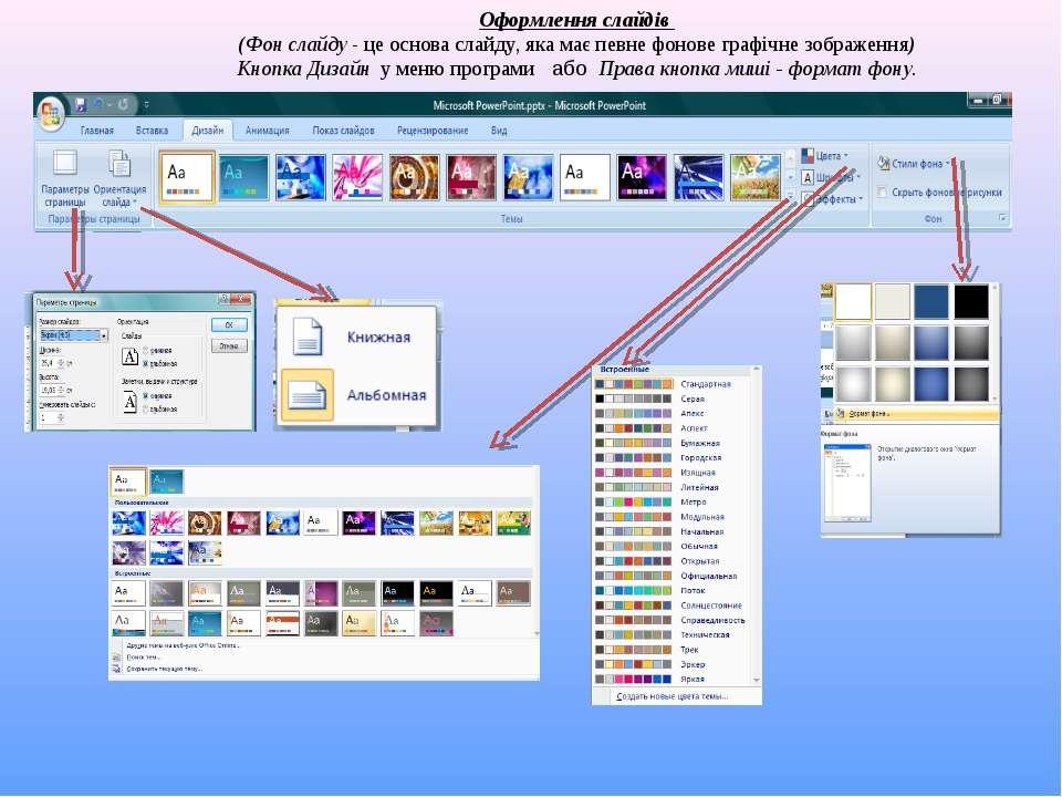Оформлення слайдів (Фон слайду - це основа слайду, яка має певне фонове графі...