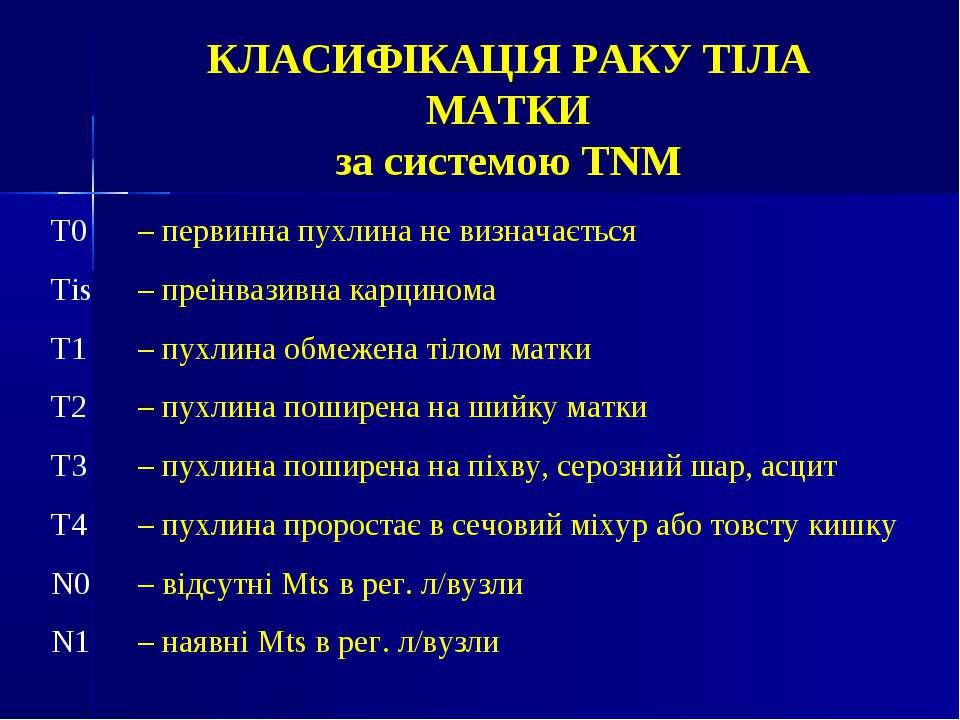КЛАСИФІКАЦІЯ РАКУ ТІЛА МАТКИ за системою ТNМ