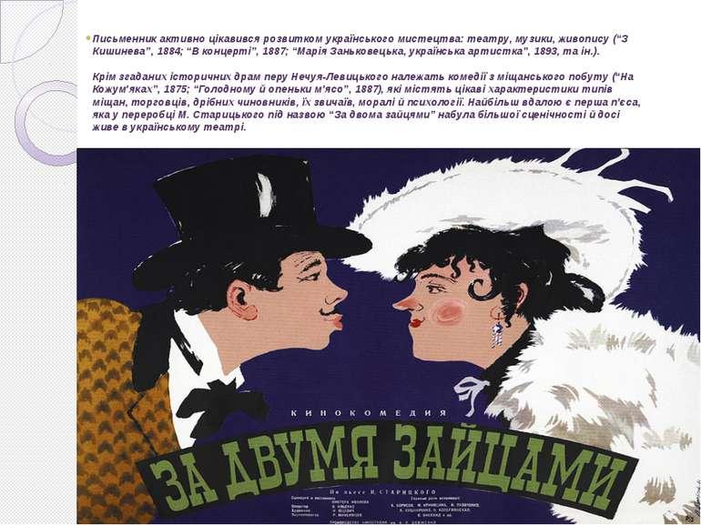 Письменник активно цікавився розвитком українського мистецтва: театру, музики...