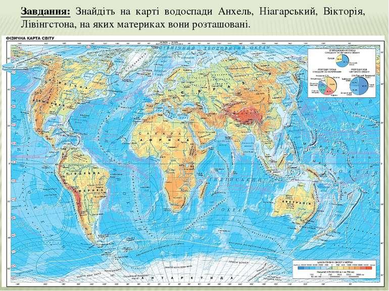 Завдання: Знайдіть на карті водоспади Анхель, Ніагарський, Вікторія, Лівінгст...