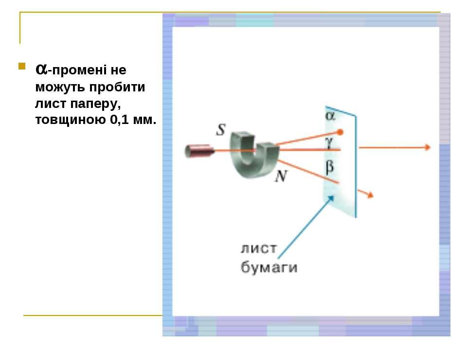 -промені не можуть пробити лист паперу, товщиною 0,1 мм.