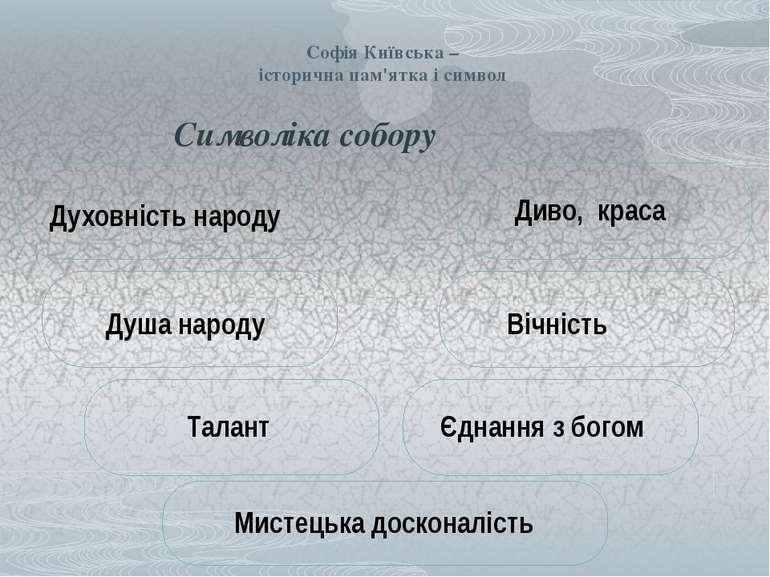 Софія Київська – історична пам'ятка і символ Символіка собору Духовність наро...