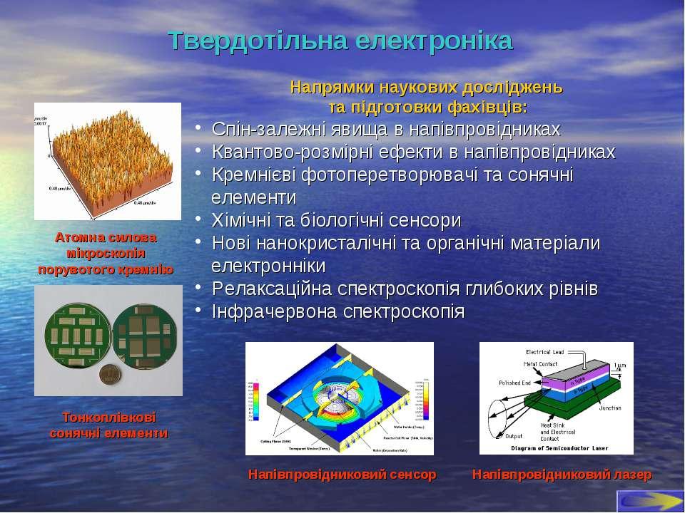 Твердотільна електроніка Напрямки наукових досліджень та підготовки фахівців:...