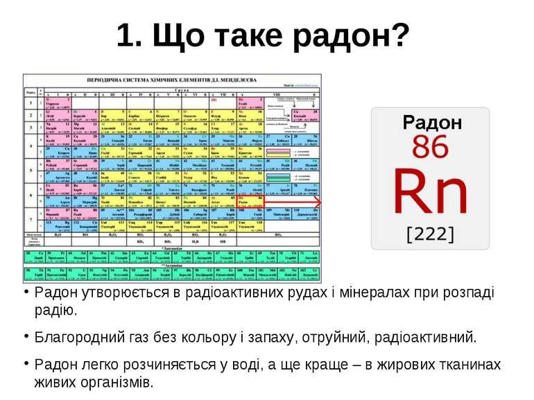1. Що таке радон? Радон утворюється в радіоактивних рудах і мінералах при роз...