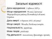 Загальні відомості Дата народження: 1 квітня 1809 р. Місце народження: Великі...