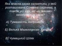 Яка власна назва галактики, у якій розташована Сонячна система, а також усі з...