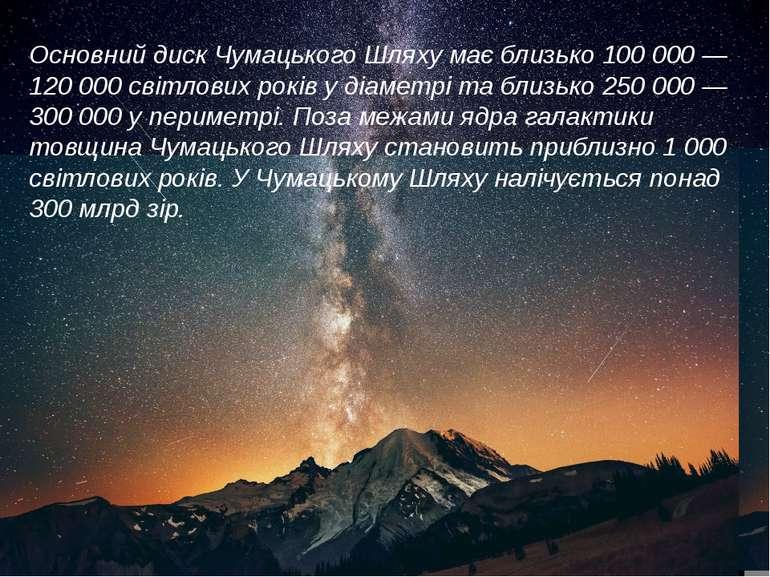 Основний диск Чумацького Шляху має близько 100 000 — 120 000 світлових років ...