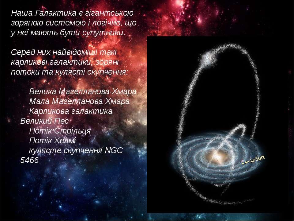 Наша Галактика є гігантською зоряною системою і логічно, що у неї мають бути ...