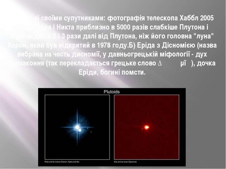 Плутон зі своїми супутниками: фотографія телескопа Хаббл 2005 року, Гідра і Н...