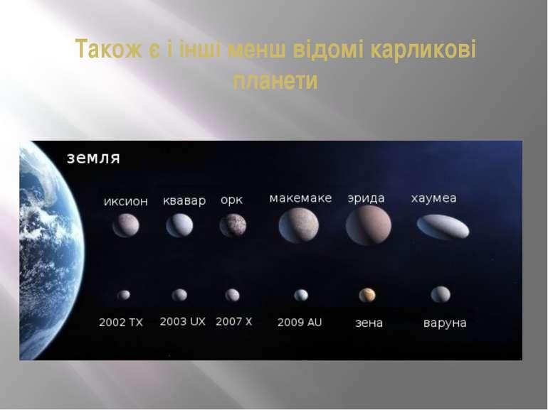Також є і інші менш відомі карликові планети