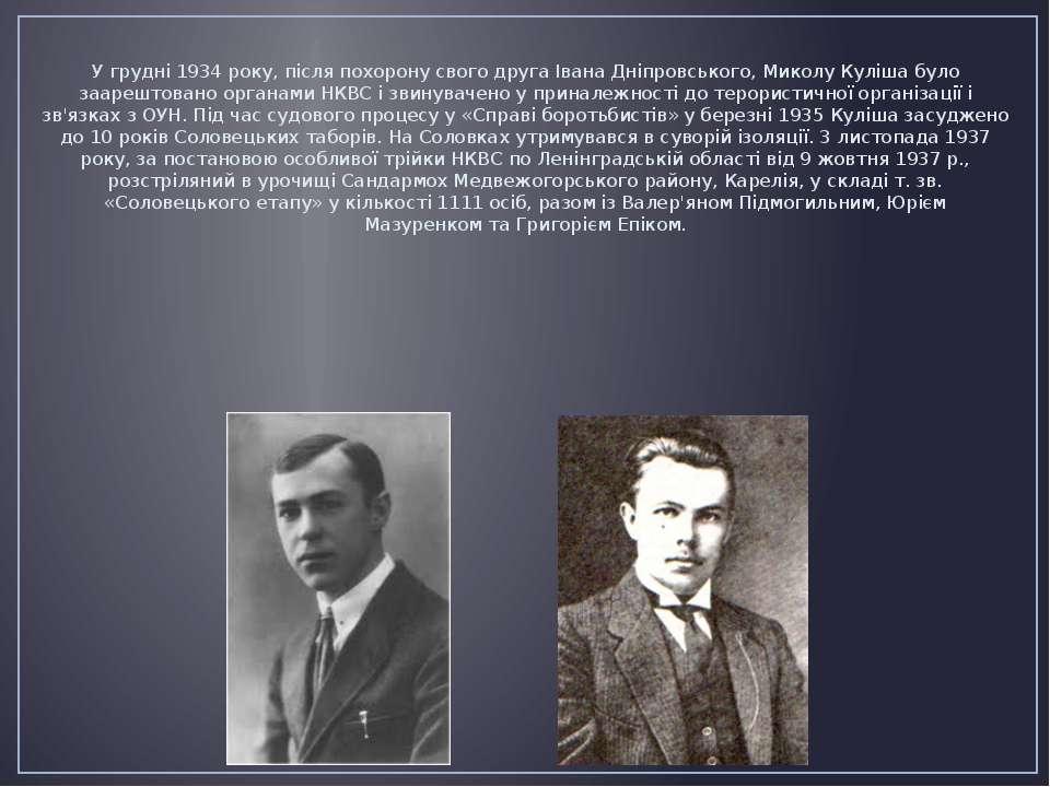 У грудні1934року, після похорону свого другаІвана Дніпровського, Миколу Ку...