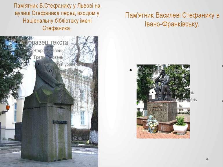 Пам'ятник В.Стефанику у Львові на вулиці Стефаника перед входом у Національну...