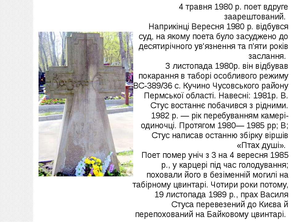 4 травня 1980 р. поет вдруге заарештований. Наприкінці Вересня 1980 р. відбув...
