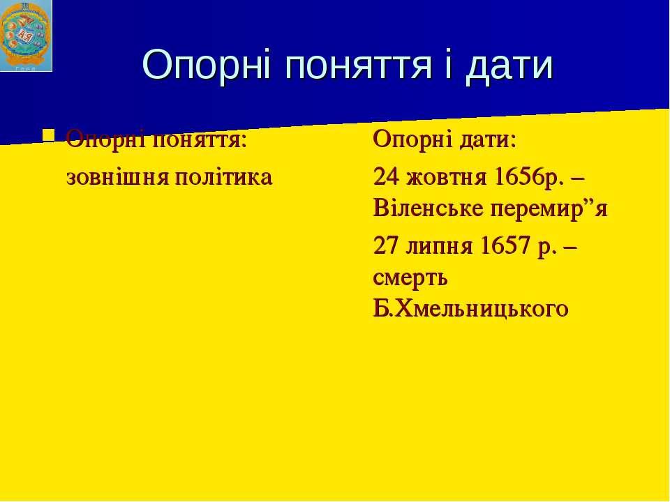 Опорні поняття і дати Опорні поняття: зовнішня політика Опорні дати: 24 жовтн...