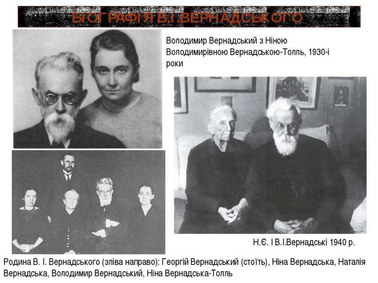 БІОГРАФІЯ В.І.ВЕРНАДСЬКОГО Н.Є. І В.І.Вернадські 1940 р. Родина В.І.Вернадс...