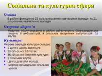 Соціальна та культурна сфери Освіта В районі функціонує 23 загальноосвітніх н...